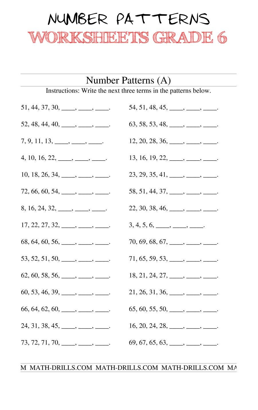 Number Patterns Worksheets Grade 6 Number Patterns Worksheets Grade 6 the Growing and Shrinking