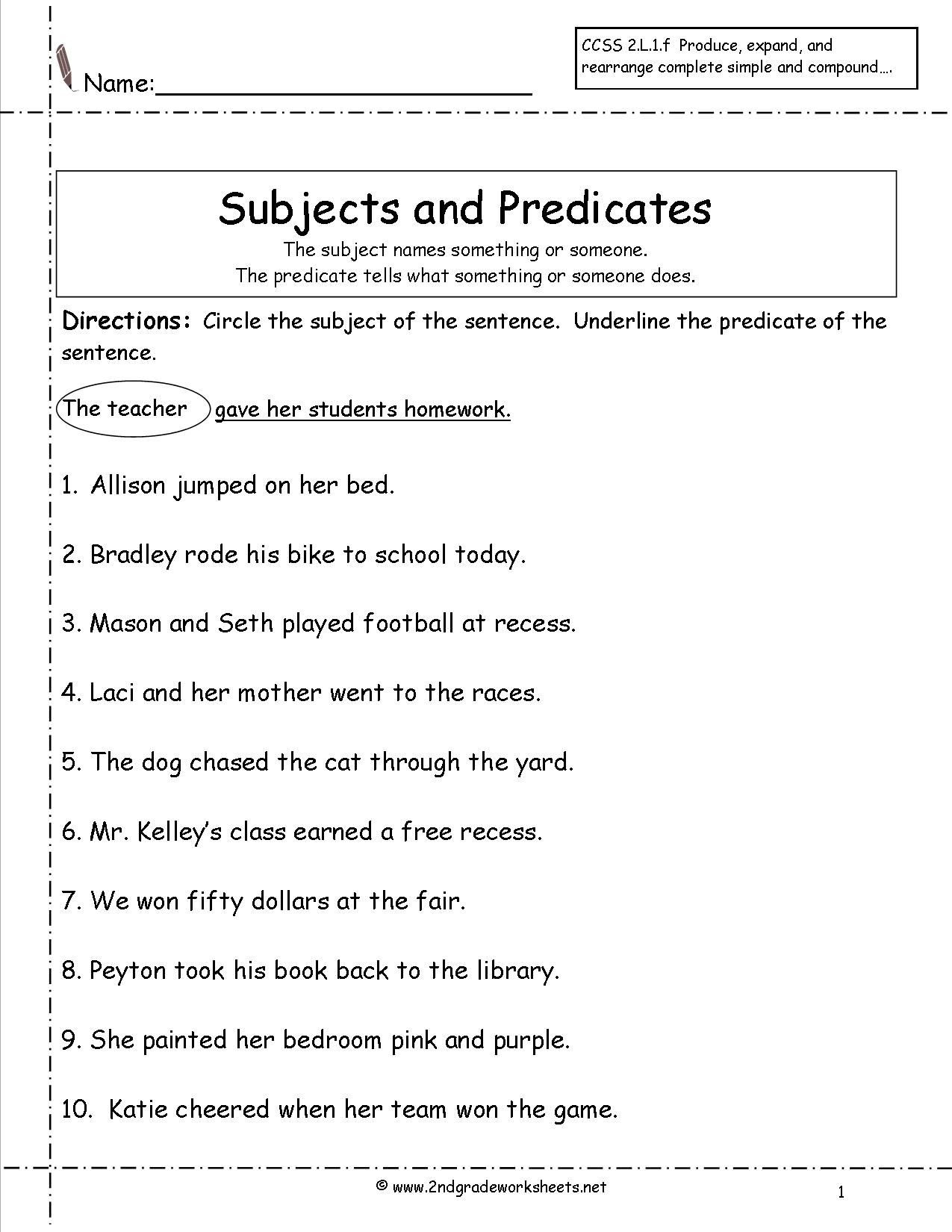 Number Sentence Worksheets 2nd Grade Subject Predicate Worksheets 2nd Grade Google Search
