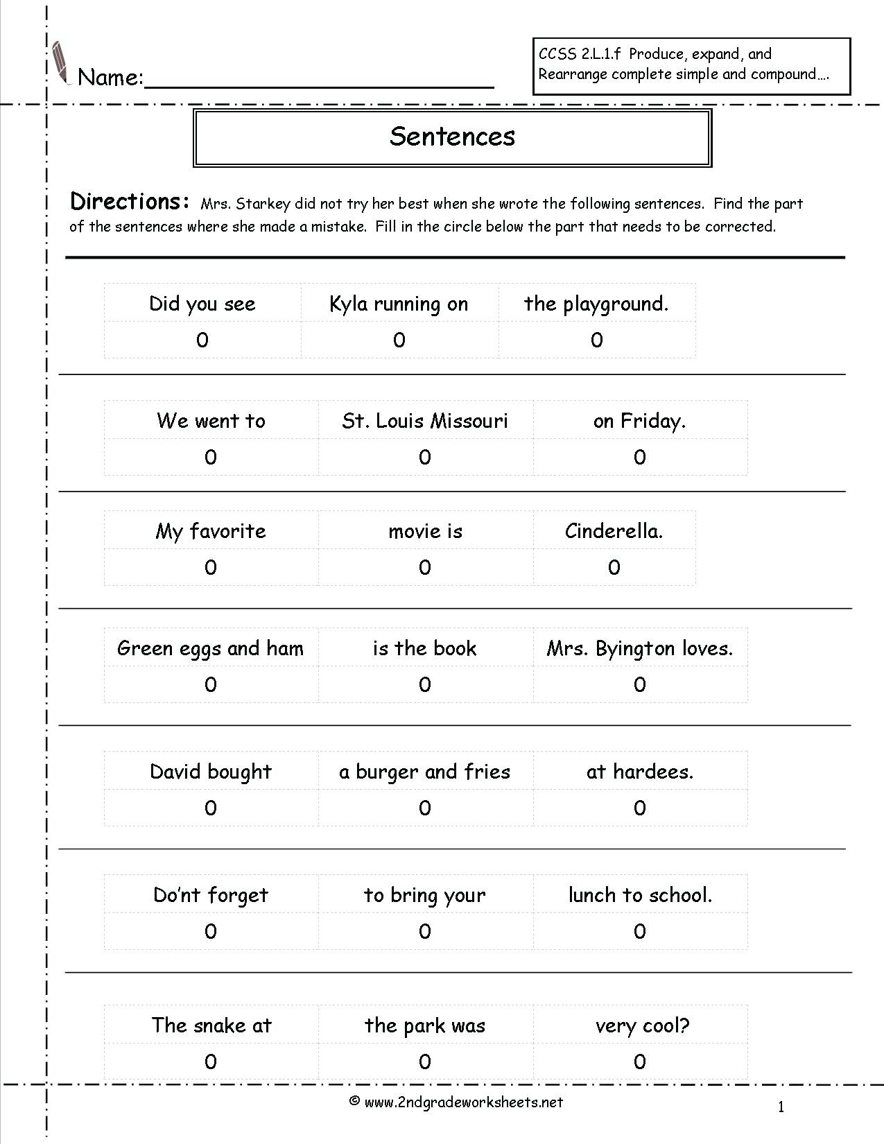 Number Sentence Worksheets 2nd Grade Types Sentences Worksheets to Download Types Of