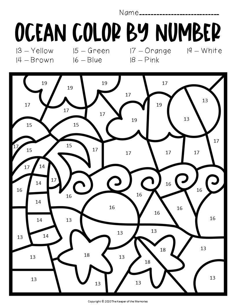 Ocean Worksheets for Preschool Color by Number Ocean Preschool Worksheets Beach the