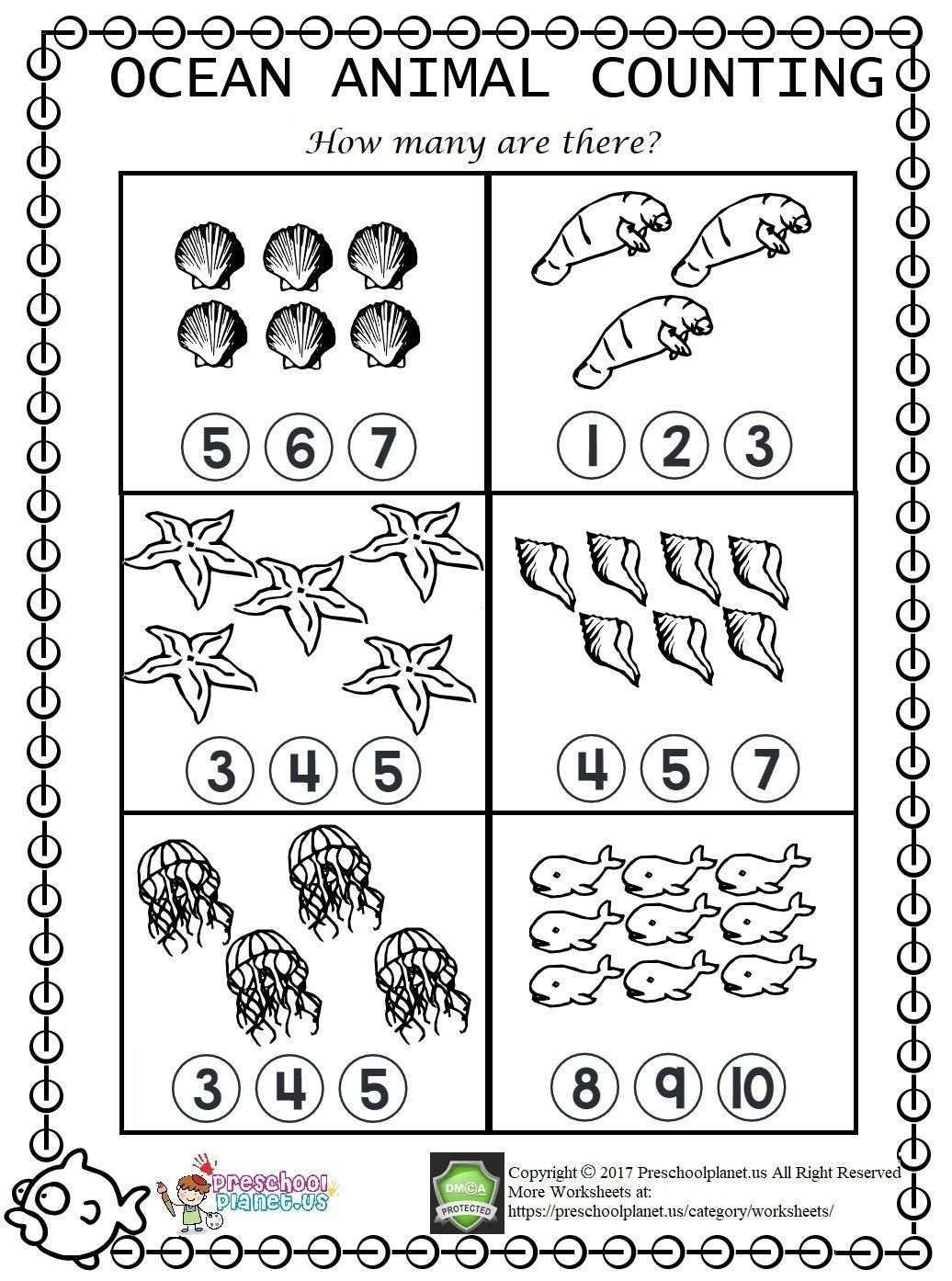 Ocean Worksheets for Preschool Sea Animal Counting Worksheet