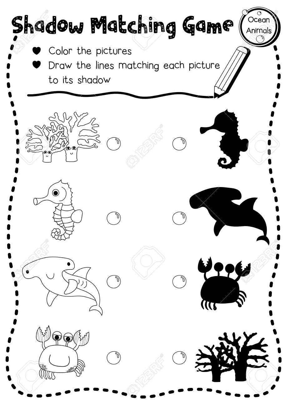 Ocean Worksheets for Preschool Shadow Matching Game Ocean Animals for Preschool Kids