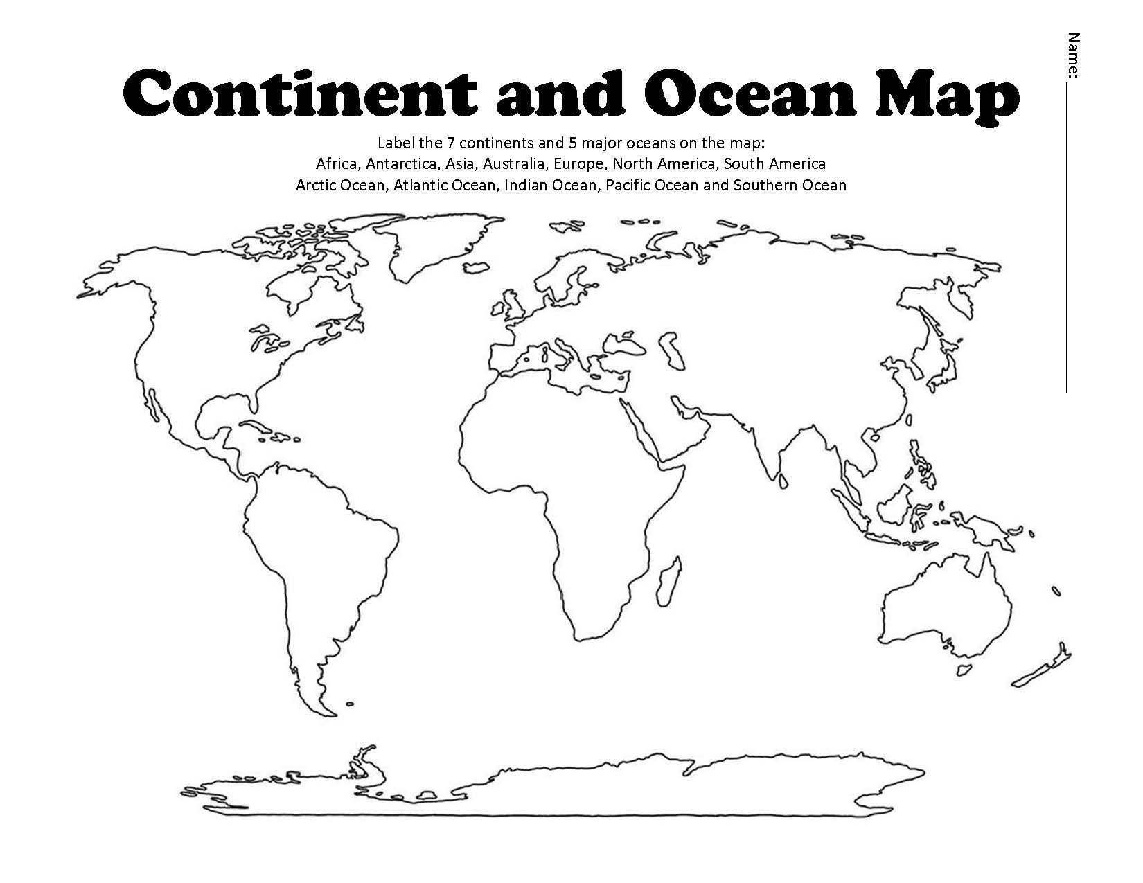 Oceans and Continents Worksheets Printable Continent and Ocean Map Worksheet Blank
