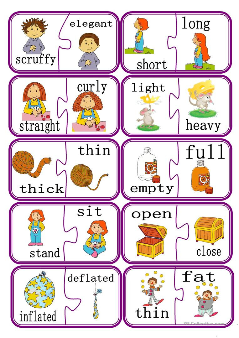 Opposites Preschool Worksheets English Esl Opposites Worksheets Most Ed 174 Results