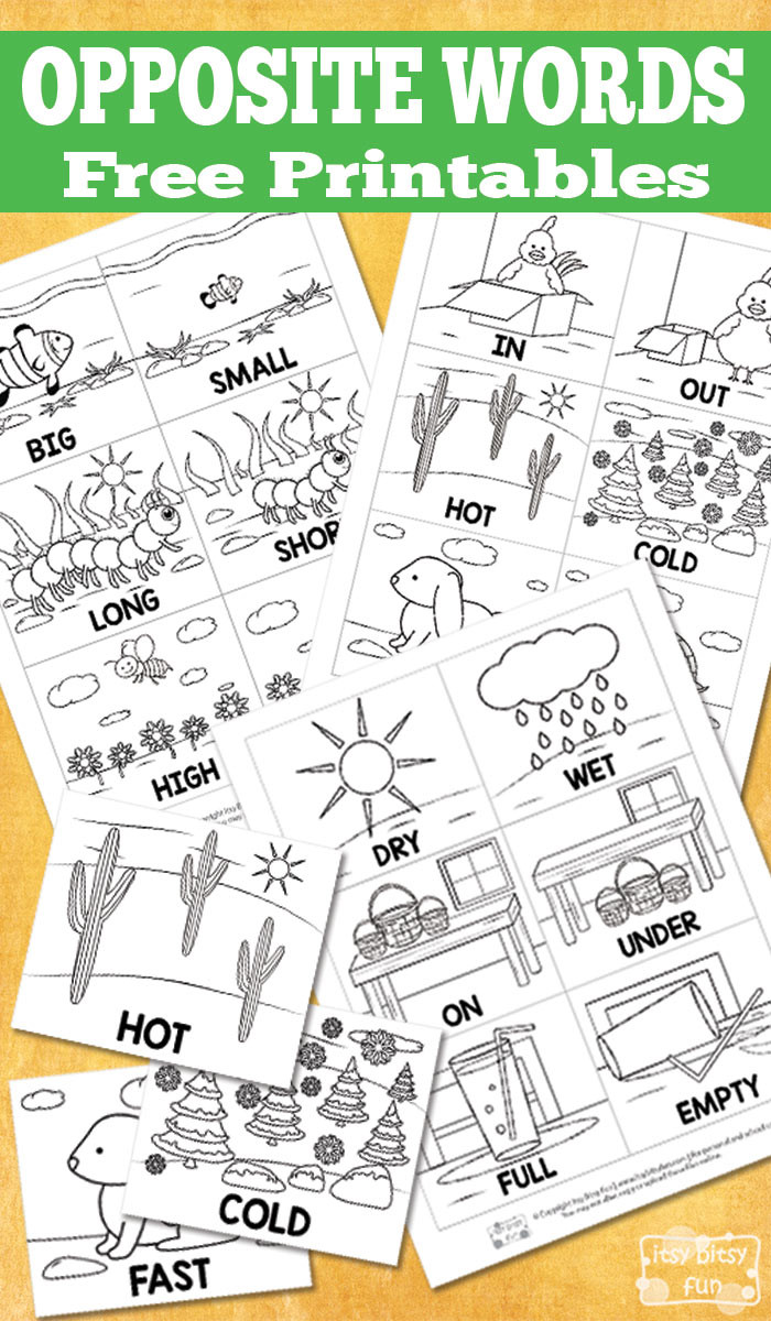 Opposites Preschool Worksheets Free Opposite Words Printables Itsybitsyfun