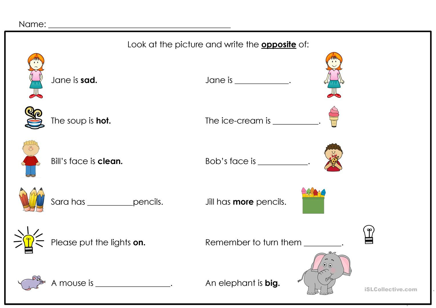 Opposites Preschool Worksheets Opposites English Esl Worksheets for Distance Learning and