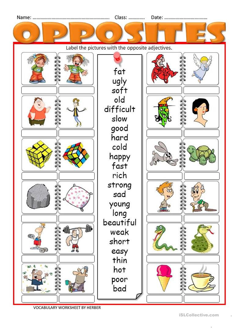 Opposites Preschool Worksheets Opposites Lessons Tes Teach