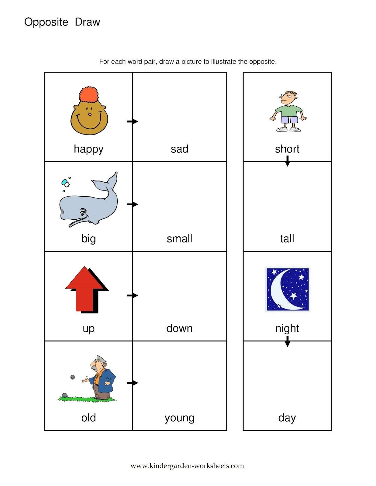 Opposites Preschool Worksheets Opposites Preschool Worksheet