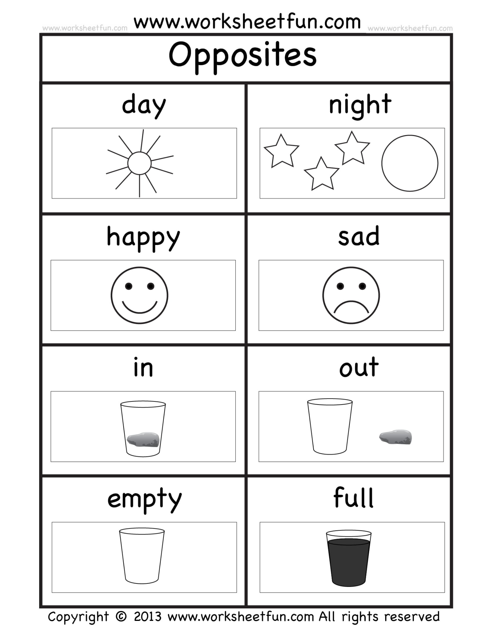 Opposites Worksheet for Preschool 8 Kindergarten Worksheet Examples Pdf