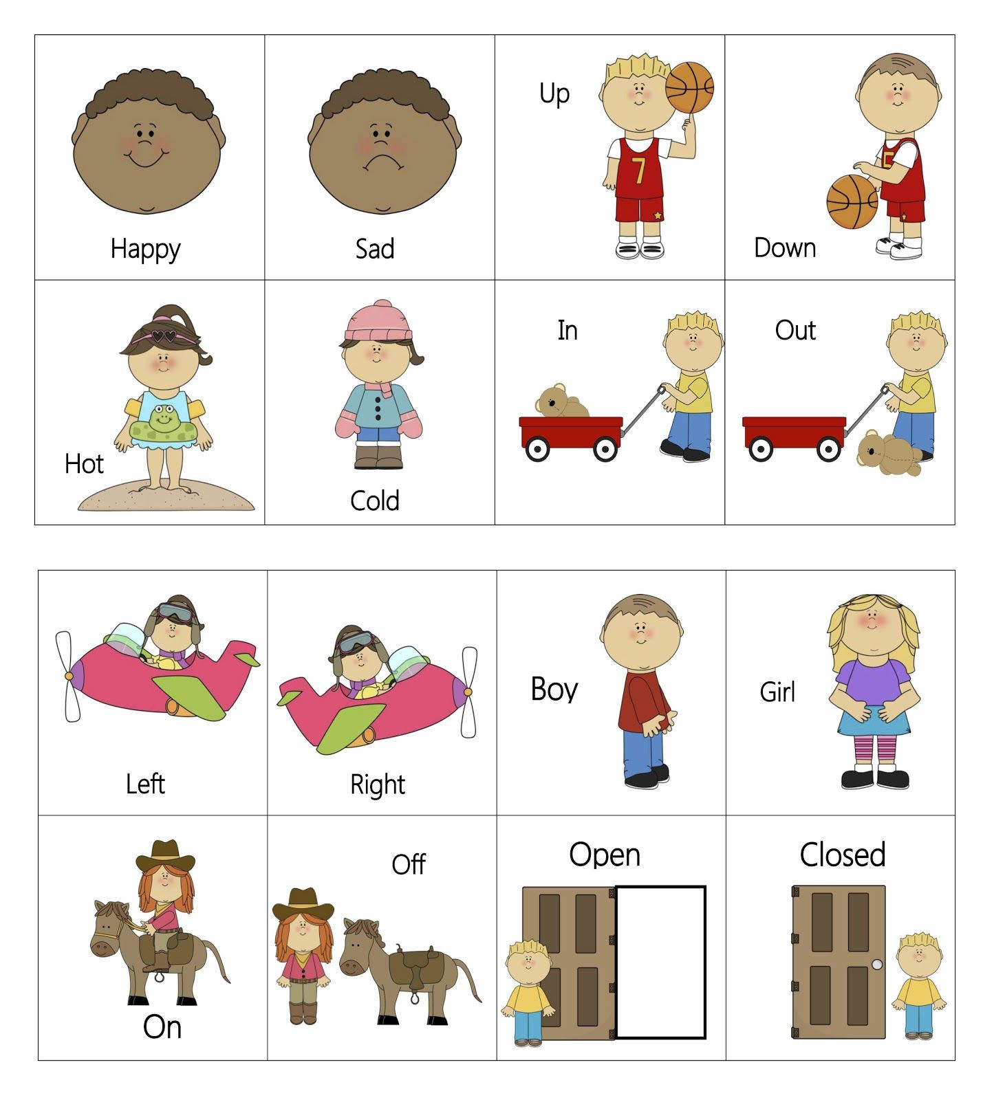 Opposites Worksheet for Preschool Free Printable Everyday Opposites Flashcards