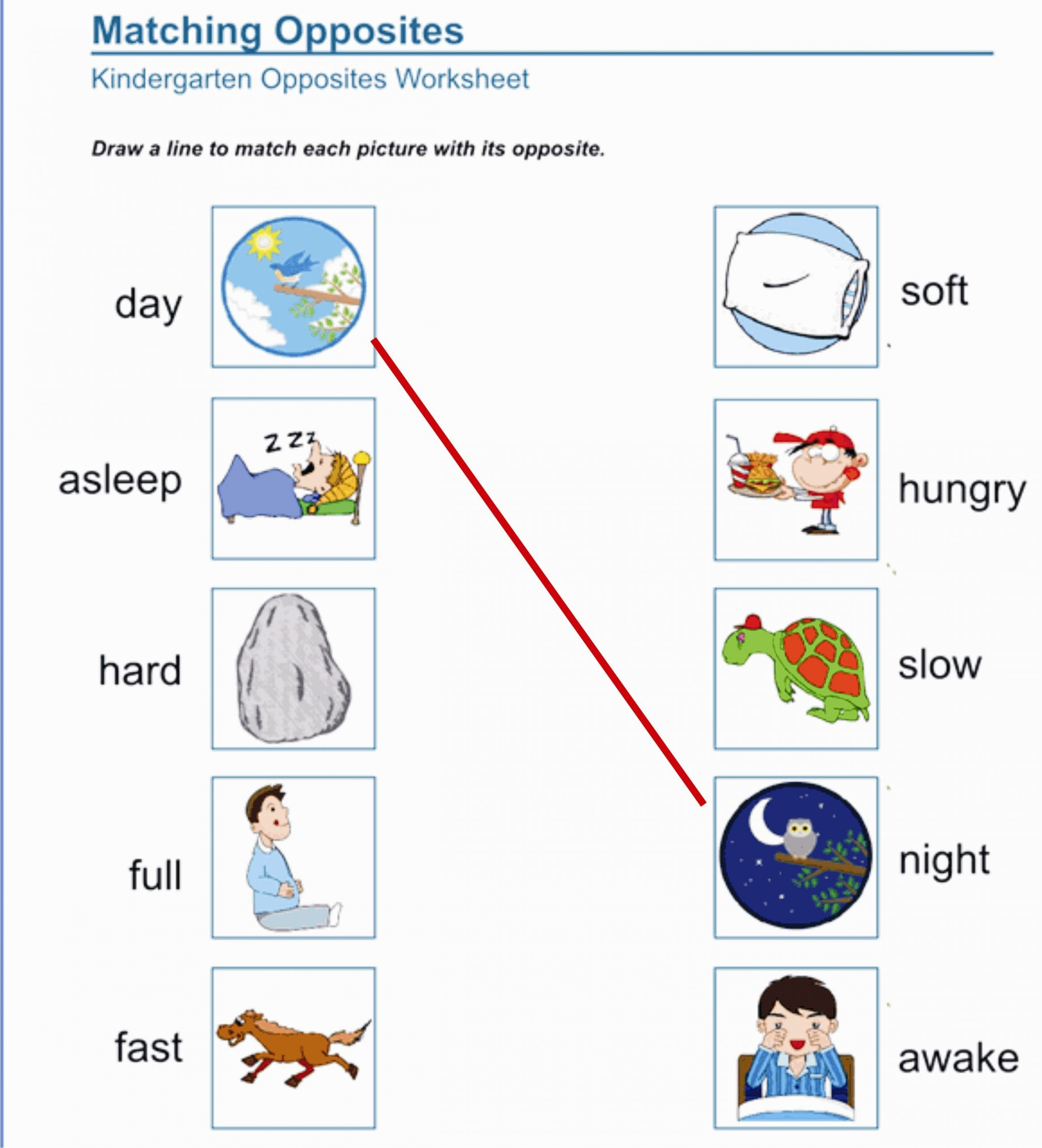 Opposites Worksheet for Preschool Kids Will Learn to Identify and Recall Opposite Words