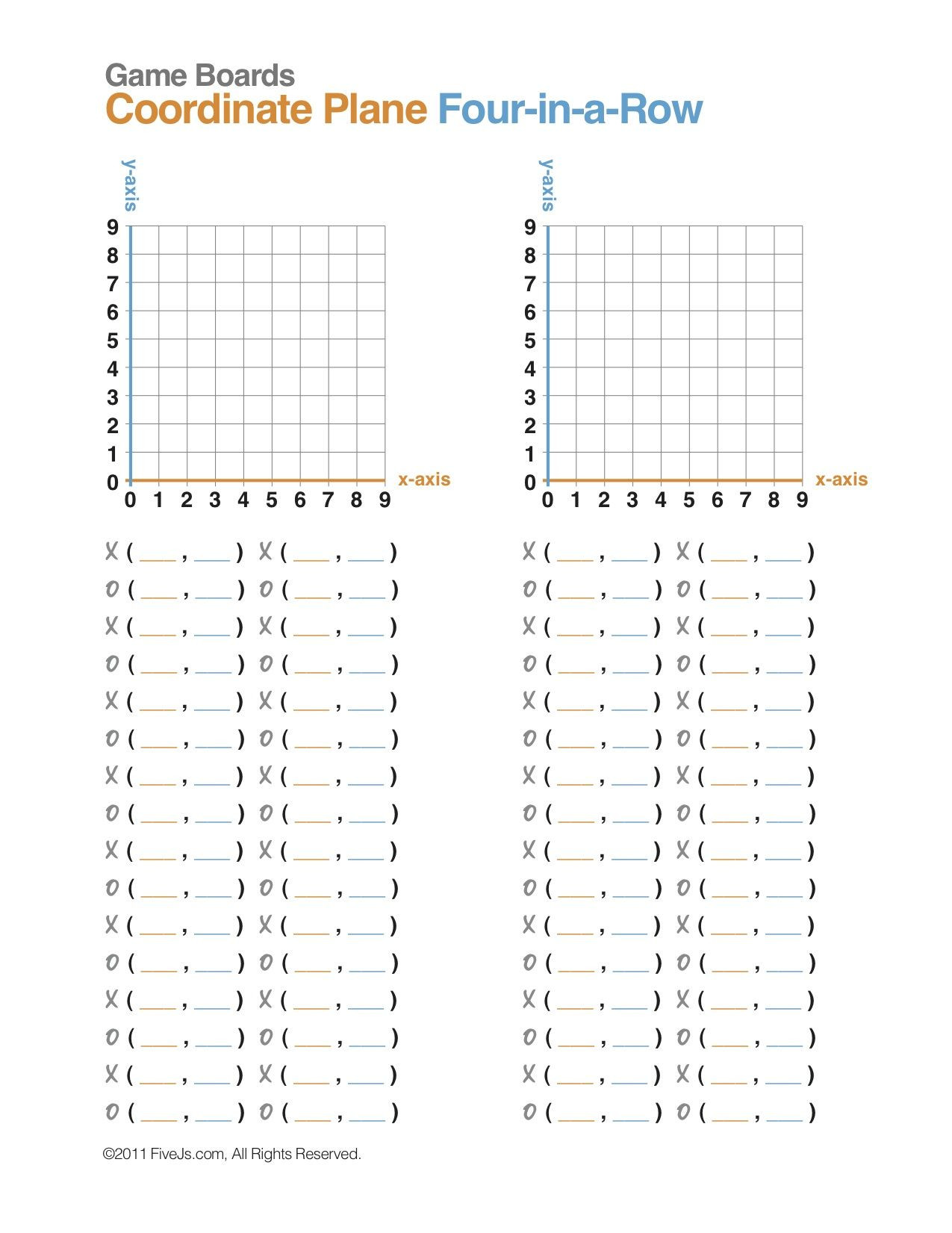 Ordered Pairs Worksheet 5th Grade Coordinate Plane Math Game Free