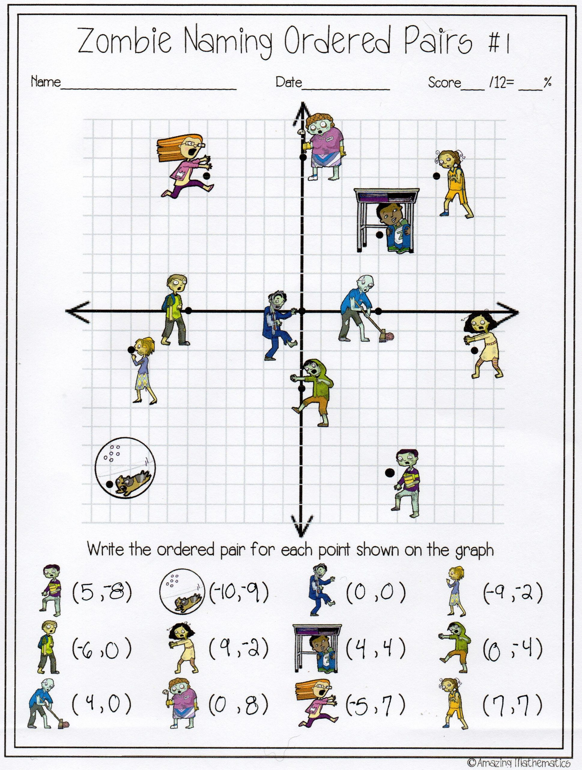 Ordered Pairs Worksheet 5th Grade Zombie Naming ordered Pairs Worksheet