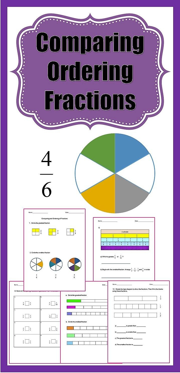 Ordering Fractions Worksheet 4th Grade Fractions Worksheets 3rd Grade 4th Grade Paring and