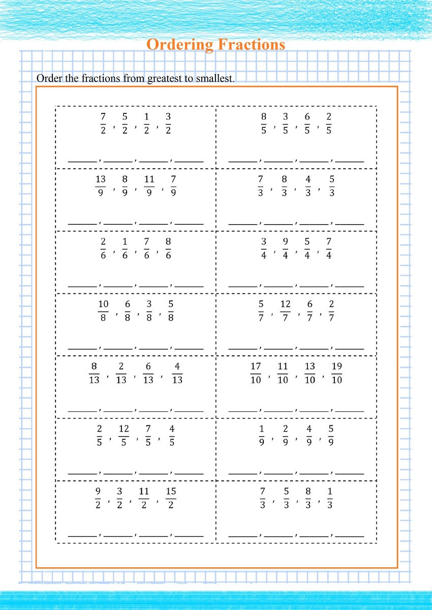 Ordering Fractions Worksheet 4th Grade ordering Fractions Greatest to Smallest Pdf Free Math