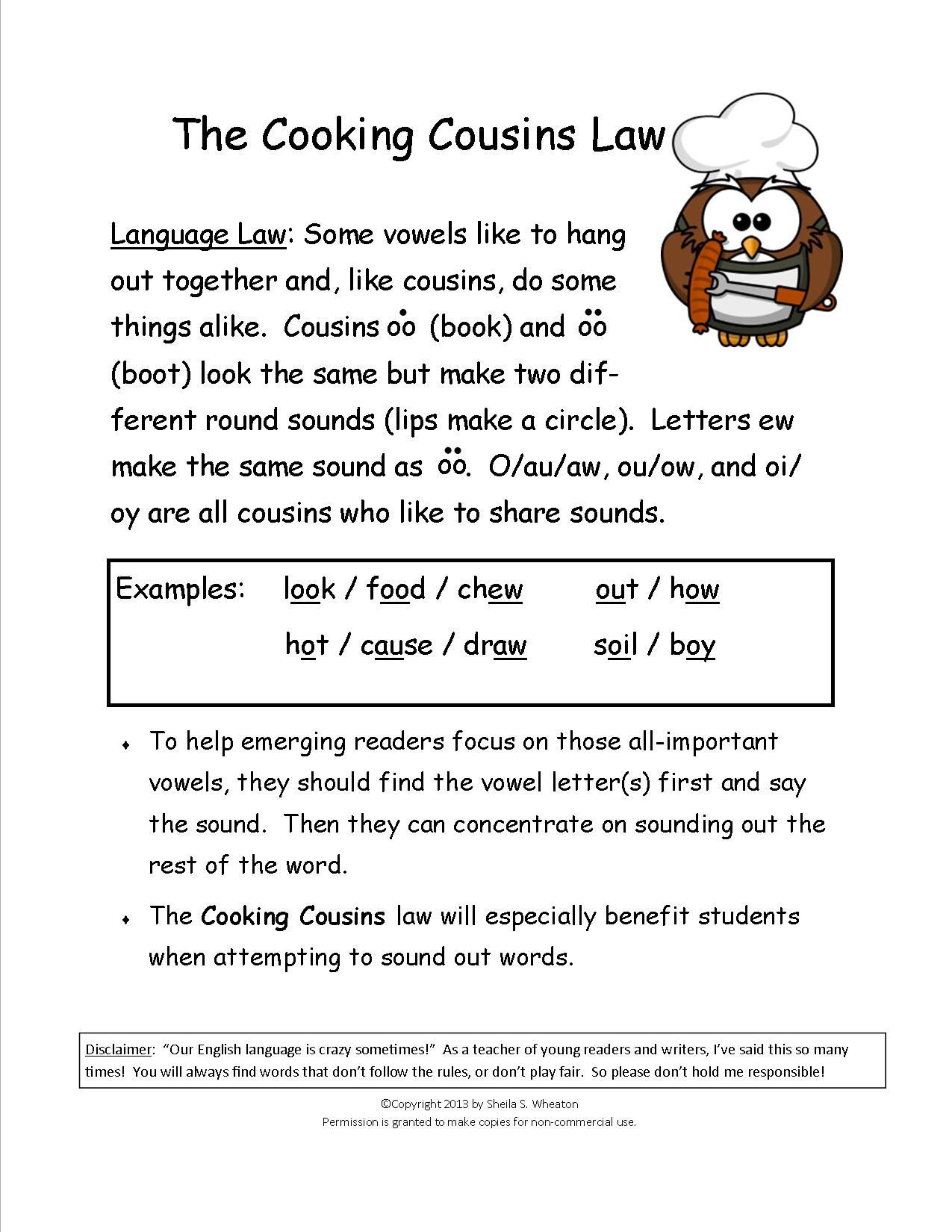 Ou Ow Worksheets 2nd Grade Cooking Cousins Teaches the sounds Made by Oo Book Oo