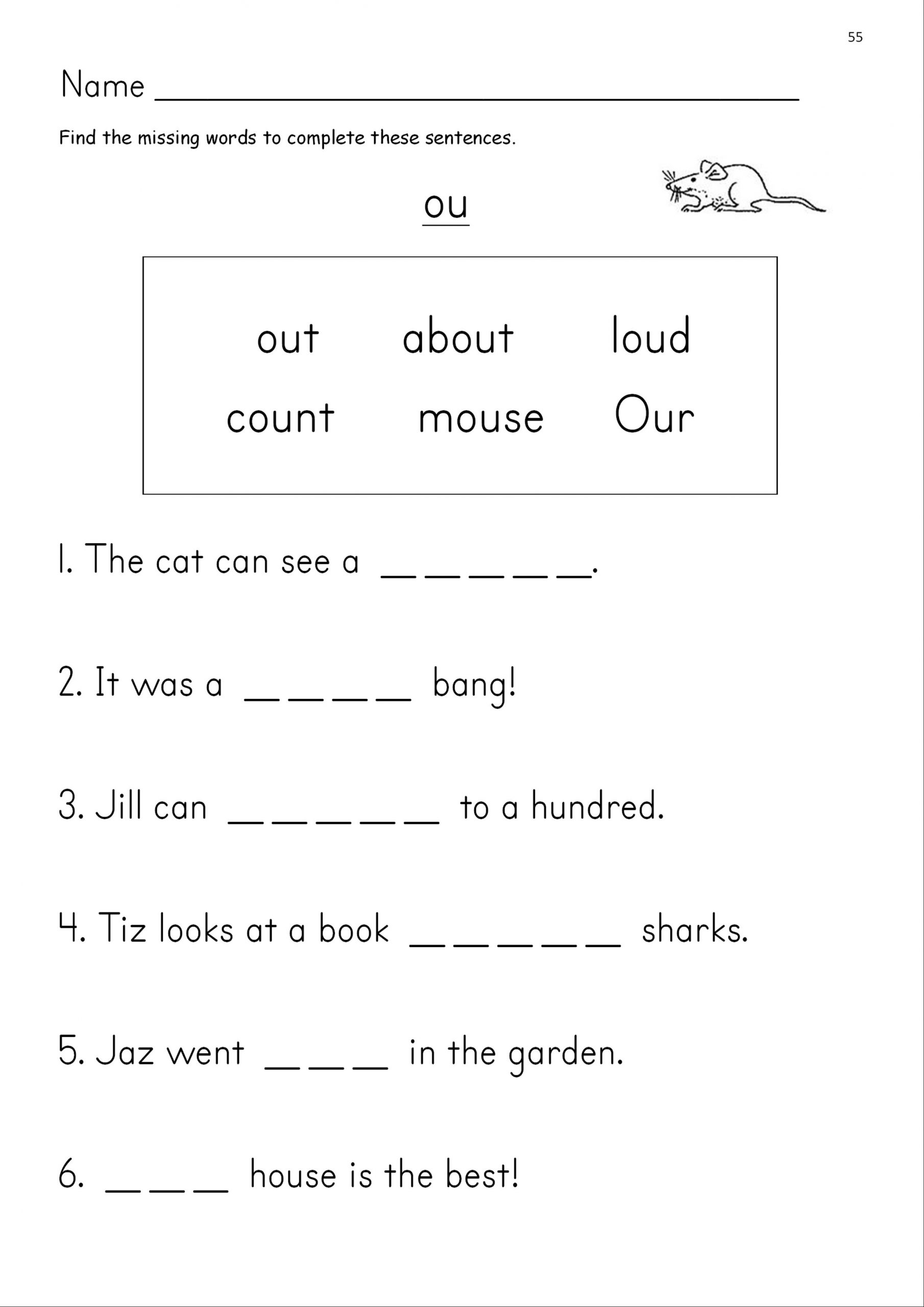 Ou Ow Worksheets 2nd Grade Ou Phonics Worksheets