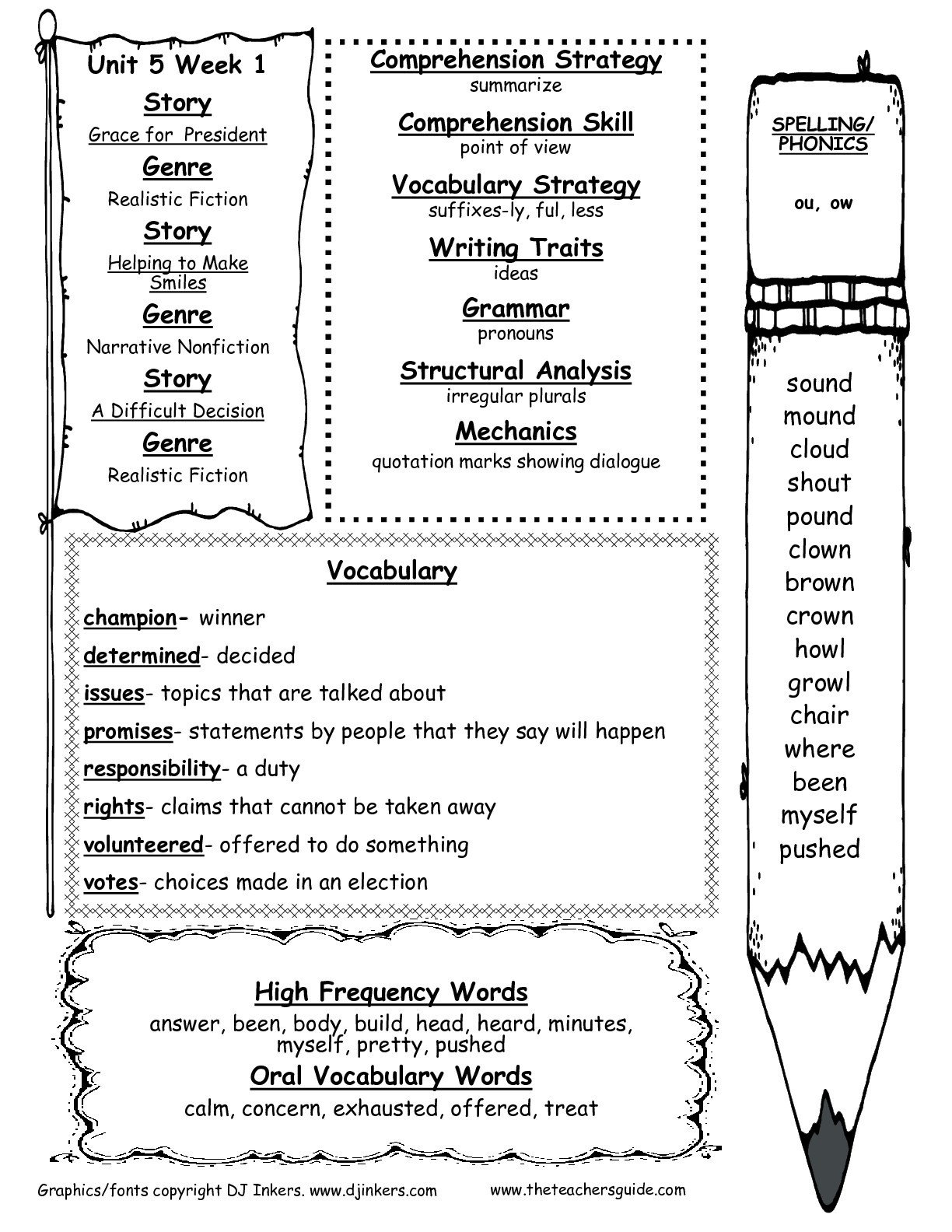 Ou Ow Worksheets 2nd Grade Wonders Second Grade Unit Five Week E Printouts