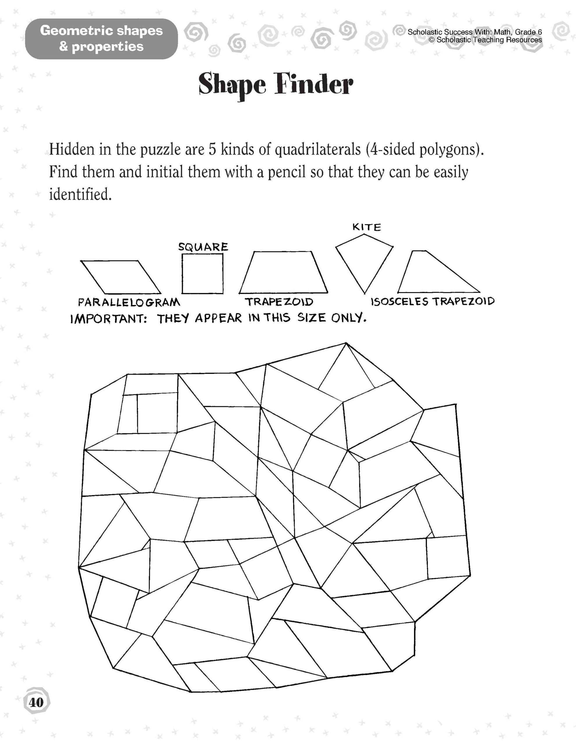 Pattern Worksheets 4th Grade 1st Grade Shapes Worksheet Printable Worksheets and