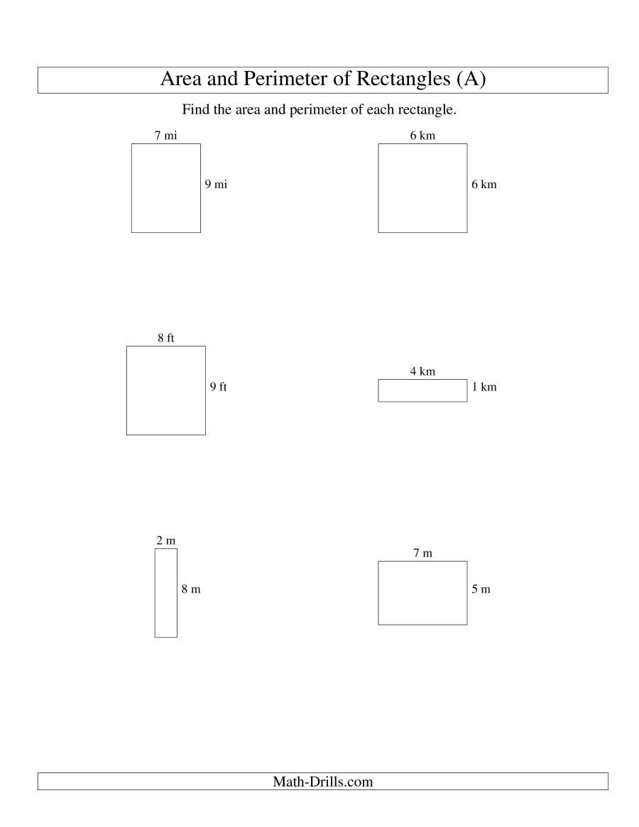 Perimeter Worksheet 3rd Grade area and Perimeter Of Rectangles whole Numbers Range 1 9 A