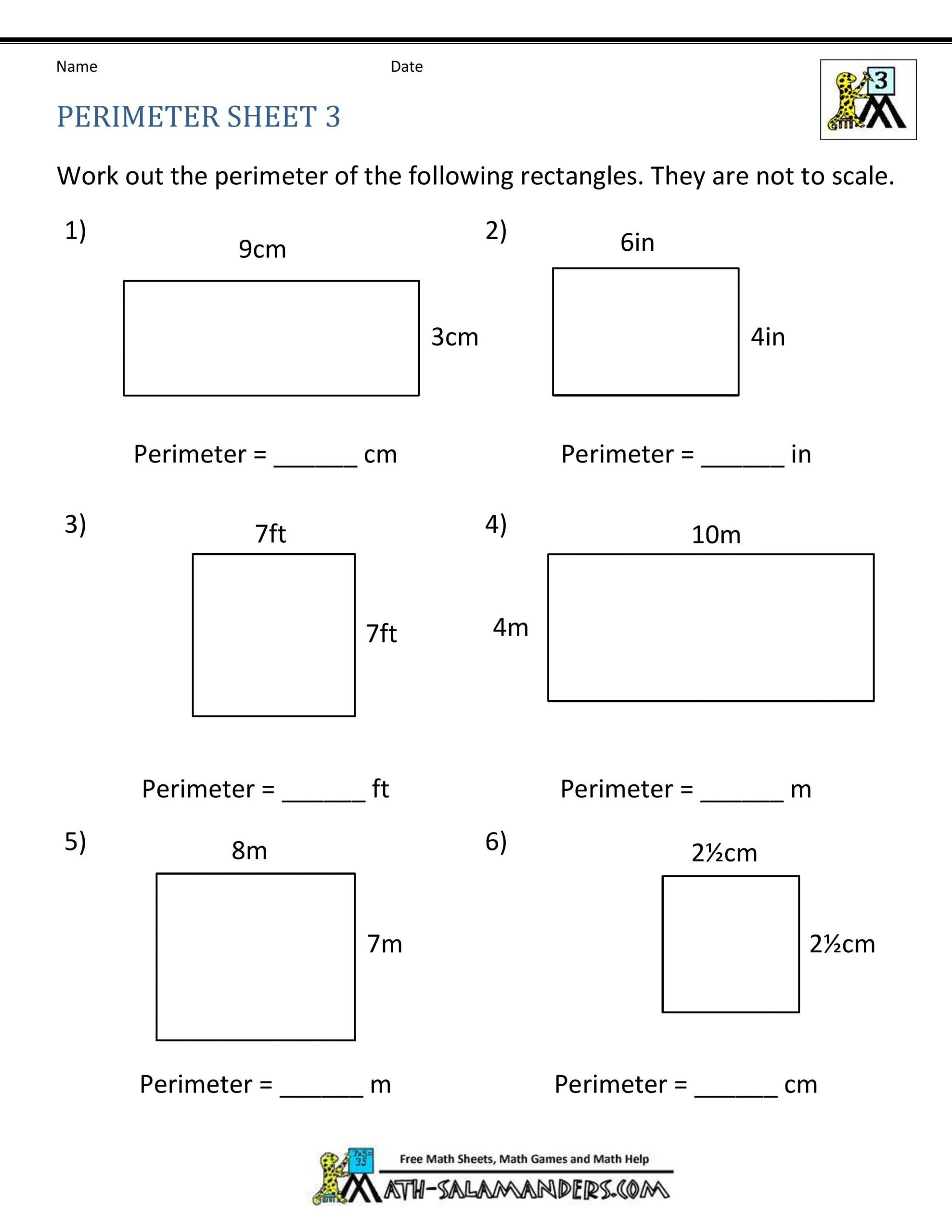 Perimeter Worksheet for 3rd Grade ✅ Best 10 area and Perimeter Worksheet In 2020