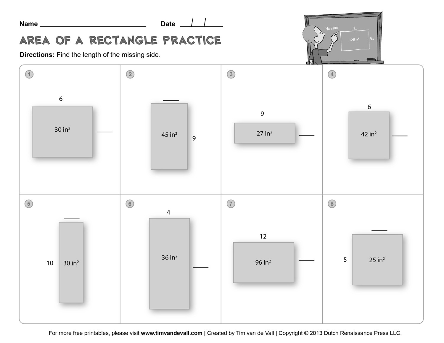 Perimeter Worksheet for 3rd Grade area and Perimeter Worksheet 03 Bw Tim S Printables