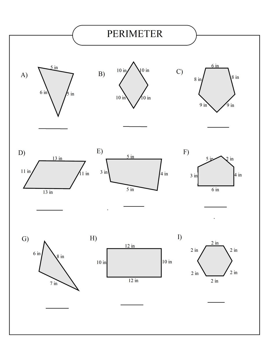 Perimeter Worksheet for 3rd Grade Perimeter