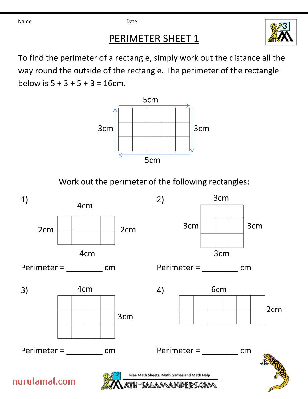 Perimeter Worksheets for 3rd Grade Free 3rd Grade Math Worksheets Perimeter 1 In 2020