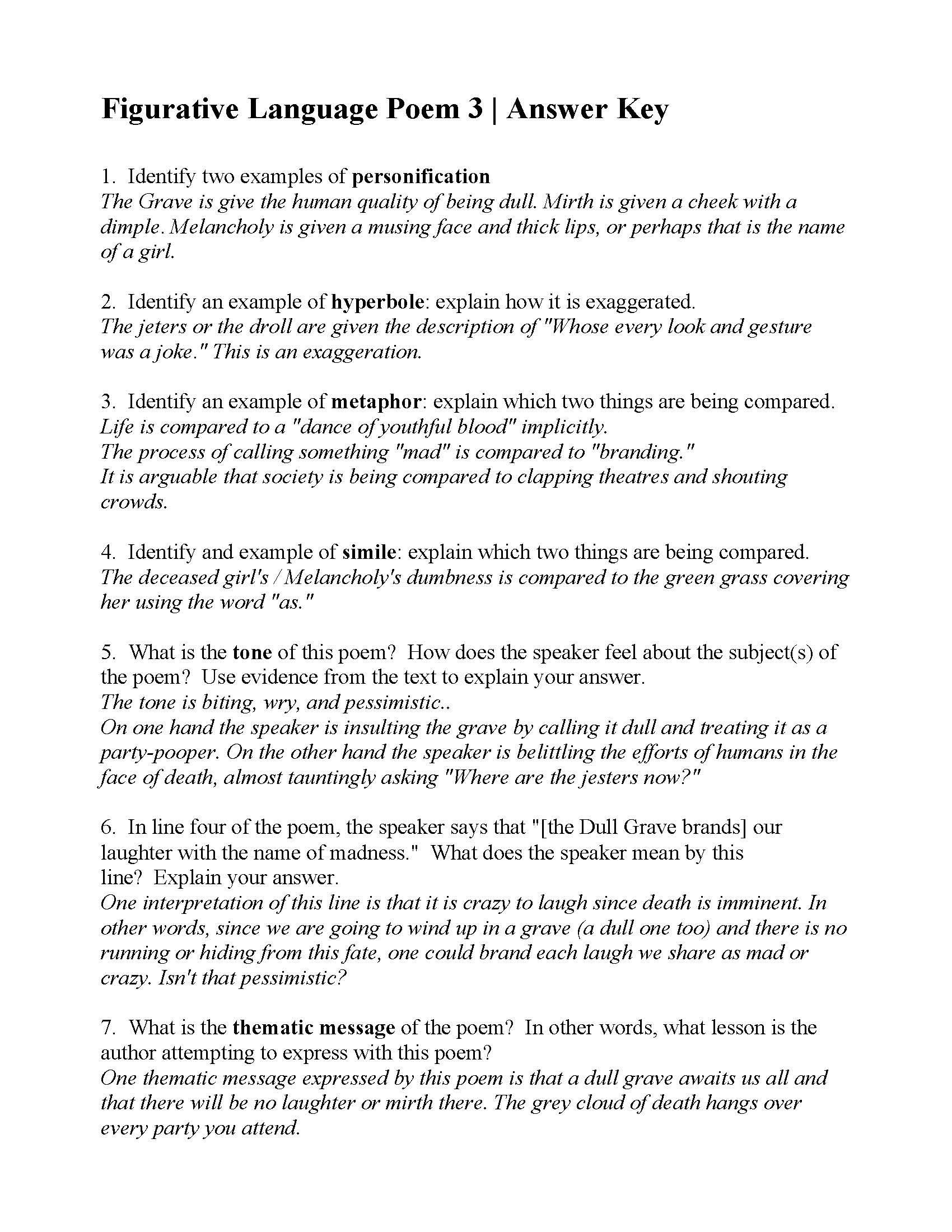 Personification Worksheets 6th Grade This is the Answer Key for the Figurative Language Poem 3