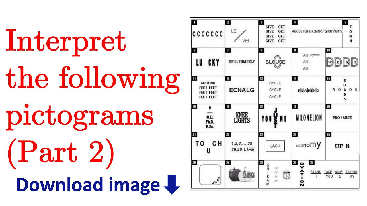 Pictogram Puzzles Printable Interpret the Following Pictograms Part 2 with Answers [with English Subtitles]