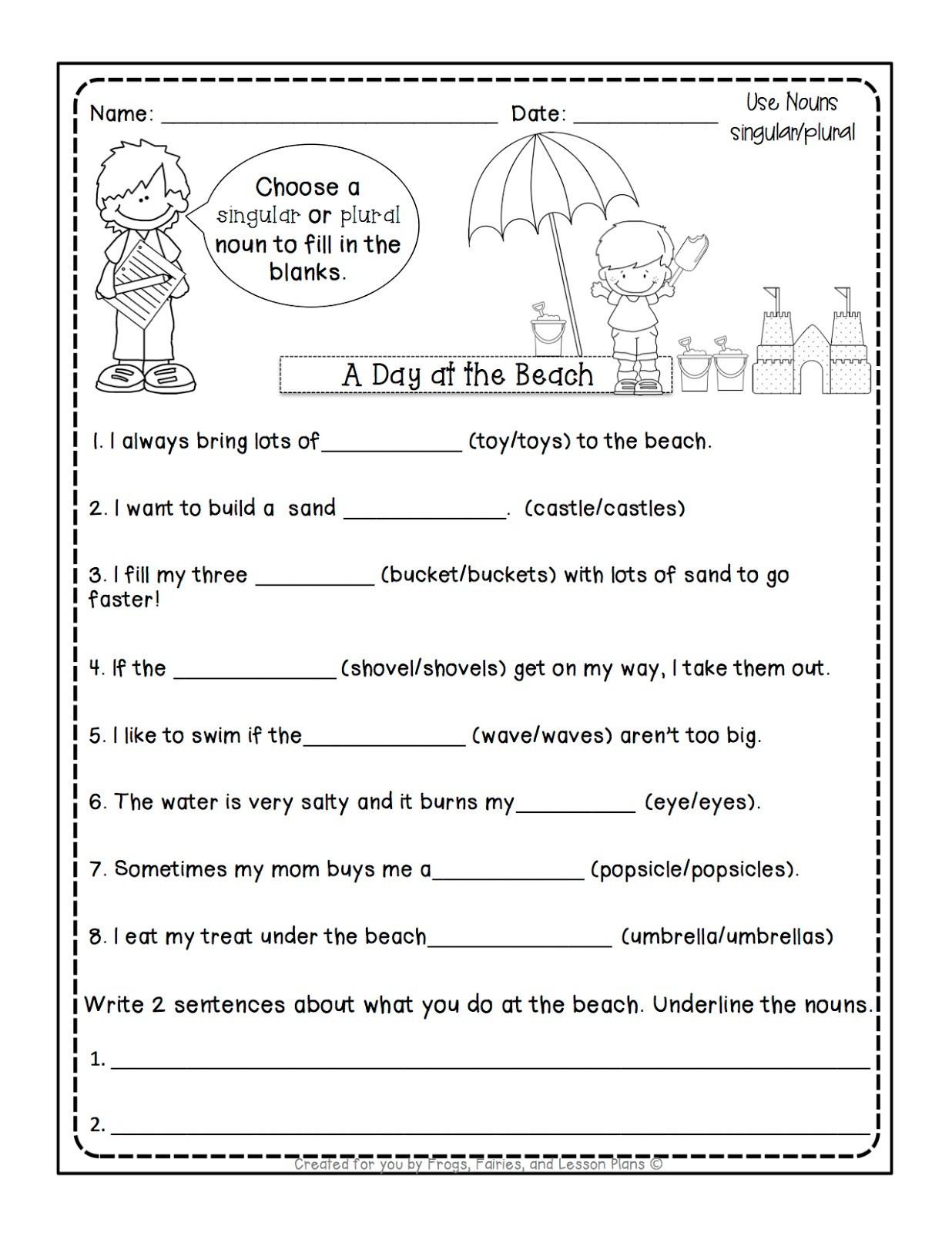 Plural Nouns Worksheet 5th Grade Frogs Fairies and Lesson Plans Noun Lessons You Need to