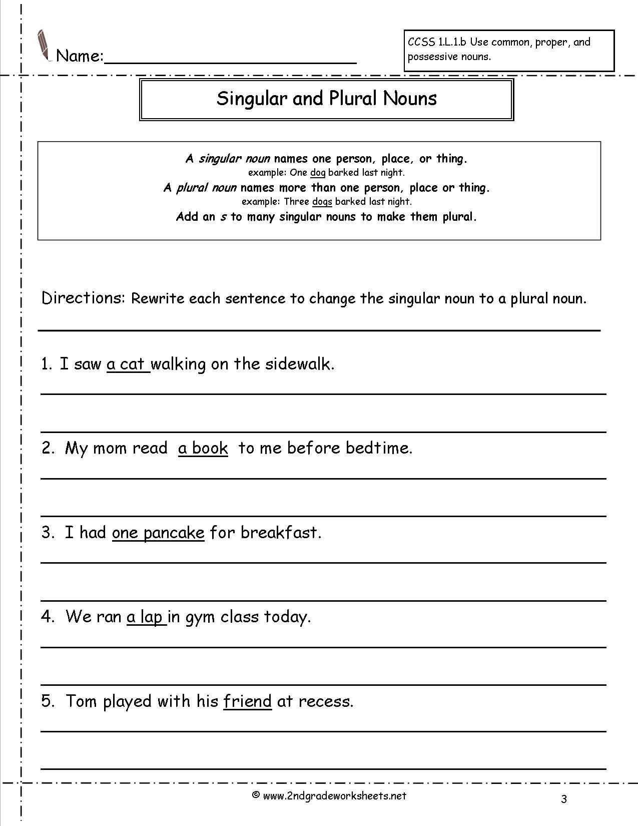 Plural Nouns Worksheet 5th Grade Singular and Plural Nouns Worksheet