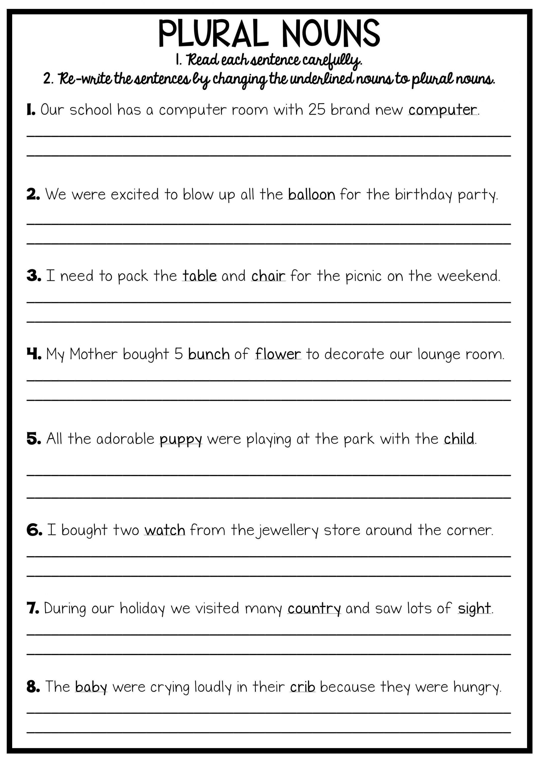 Plurals Worksheet 3rd Grade Writing Worksheets for 3rd Grade