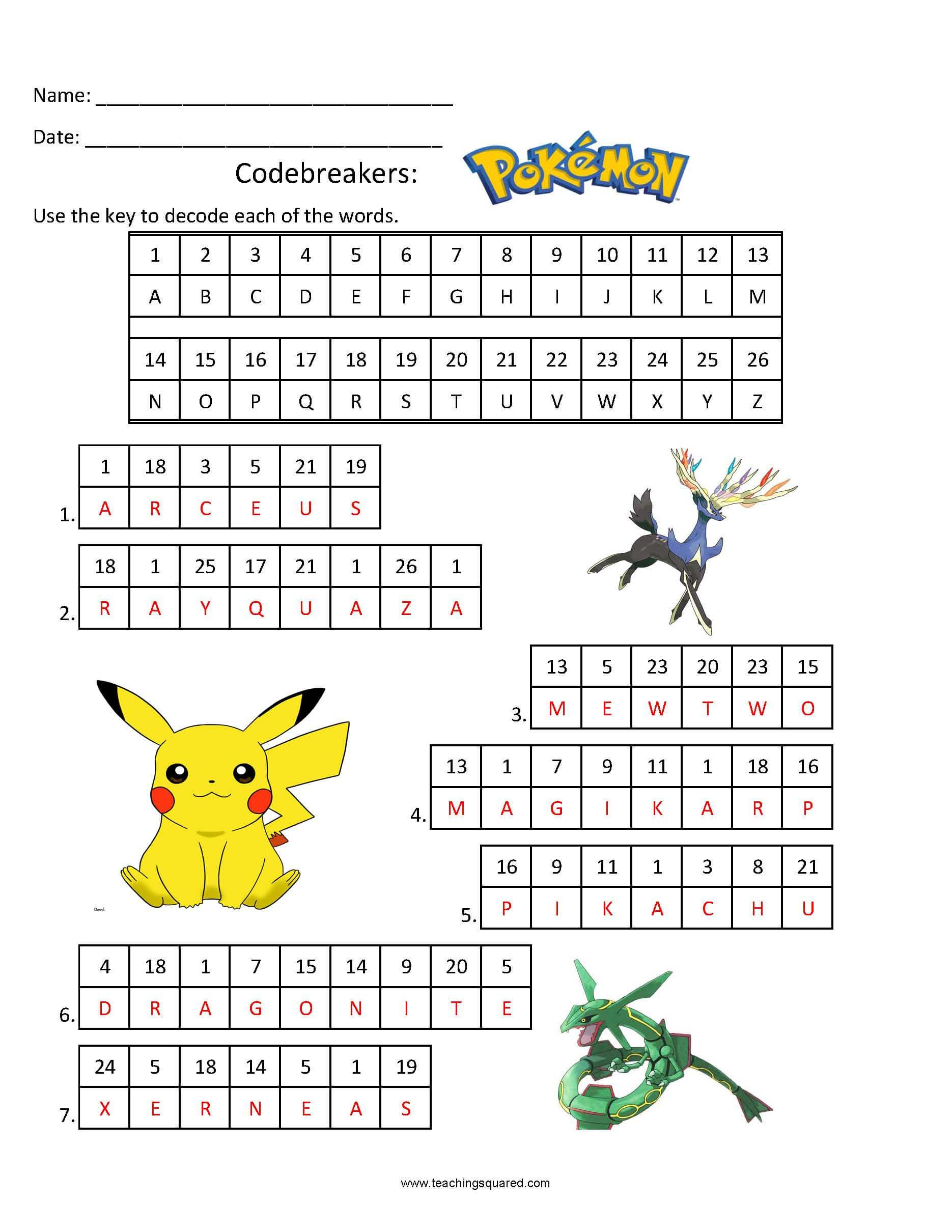 Pokemon Math Worksheets Codebreakers Pokemon Teaching Squared