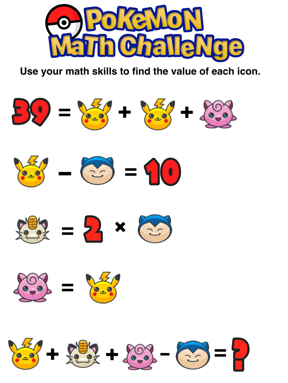 Have You Seen These Free Pokémon Math Puzzles — Mashup Math
