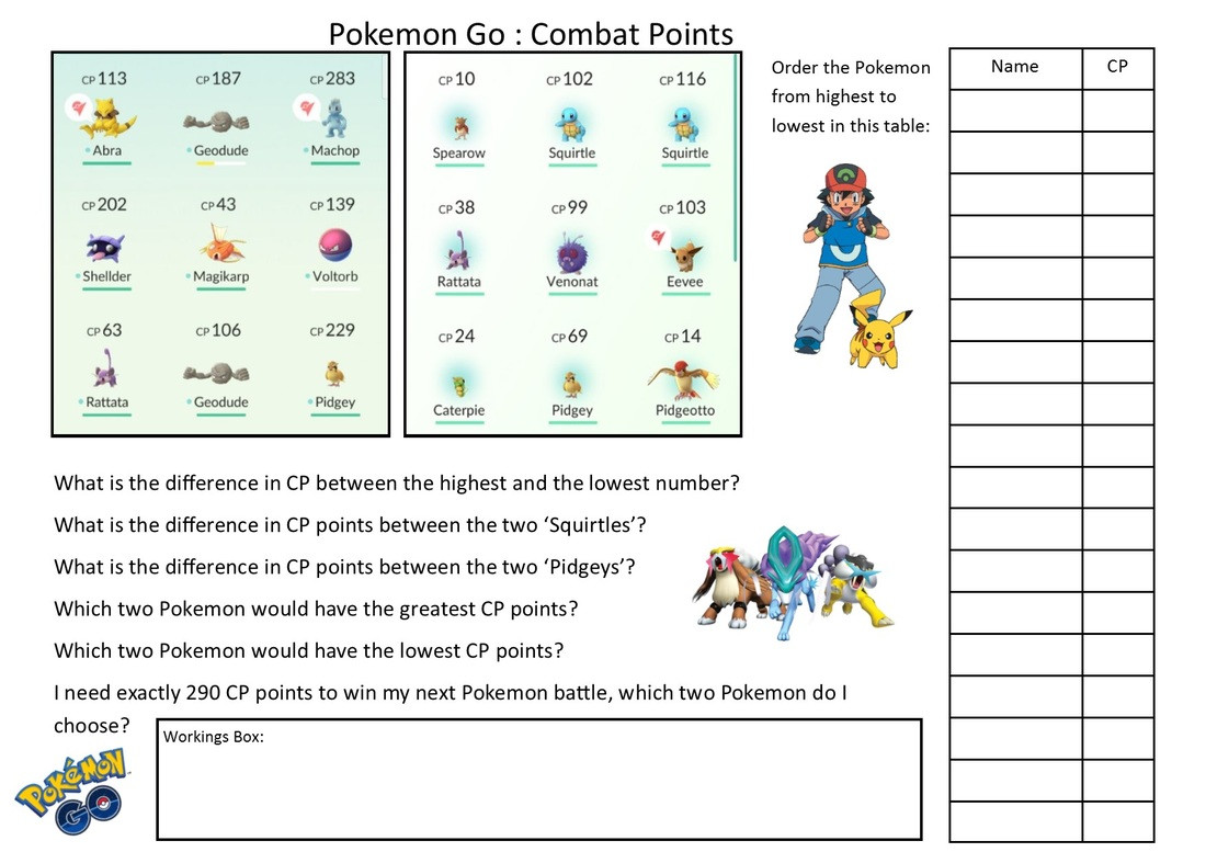 Pokemon Math Worksheets Printable Maths Word Problem Shed the Mathematics Shed