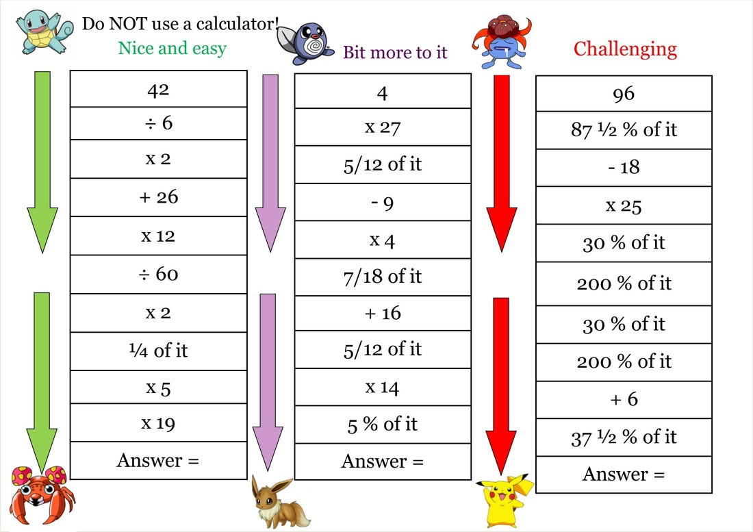 Pokemon Math Worksheets Warm Up Shed the Mathematics Shed