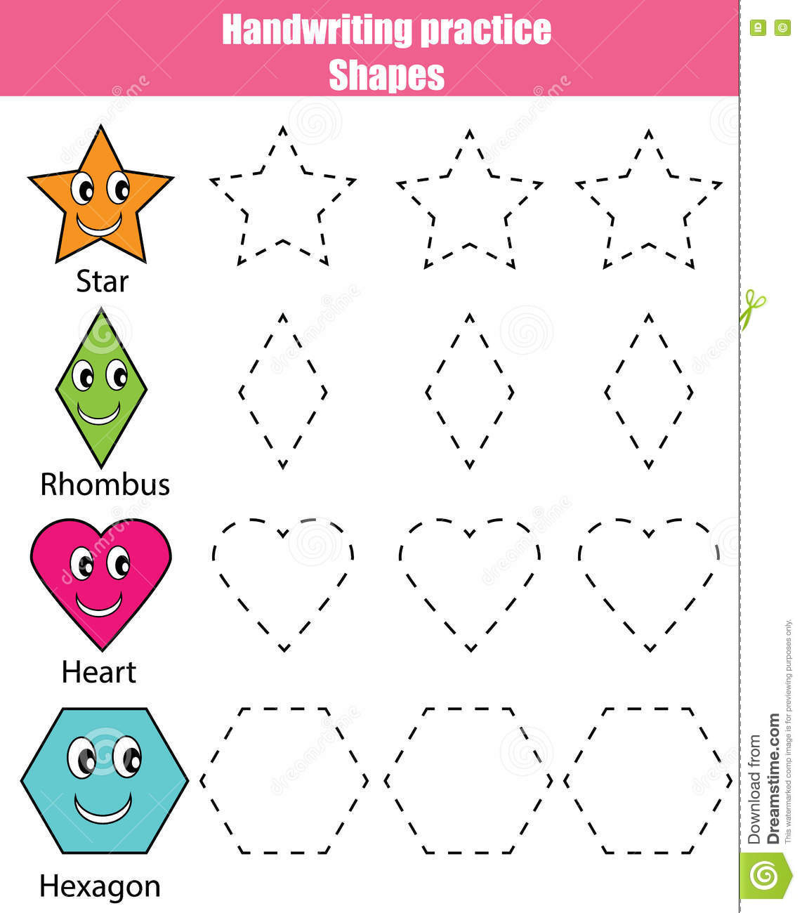 Polygon Worksheets 5th Grade Handwriting Practice Sheet Educational Children Game Kids