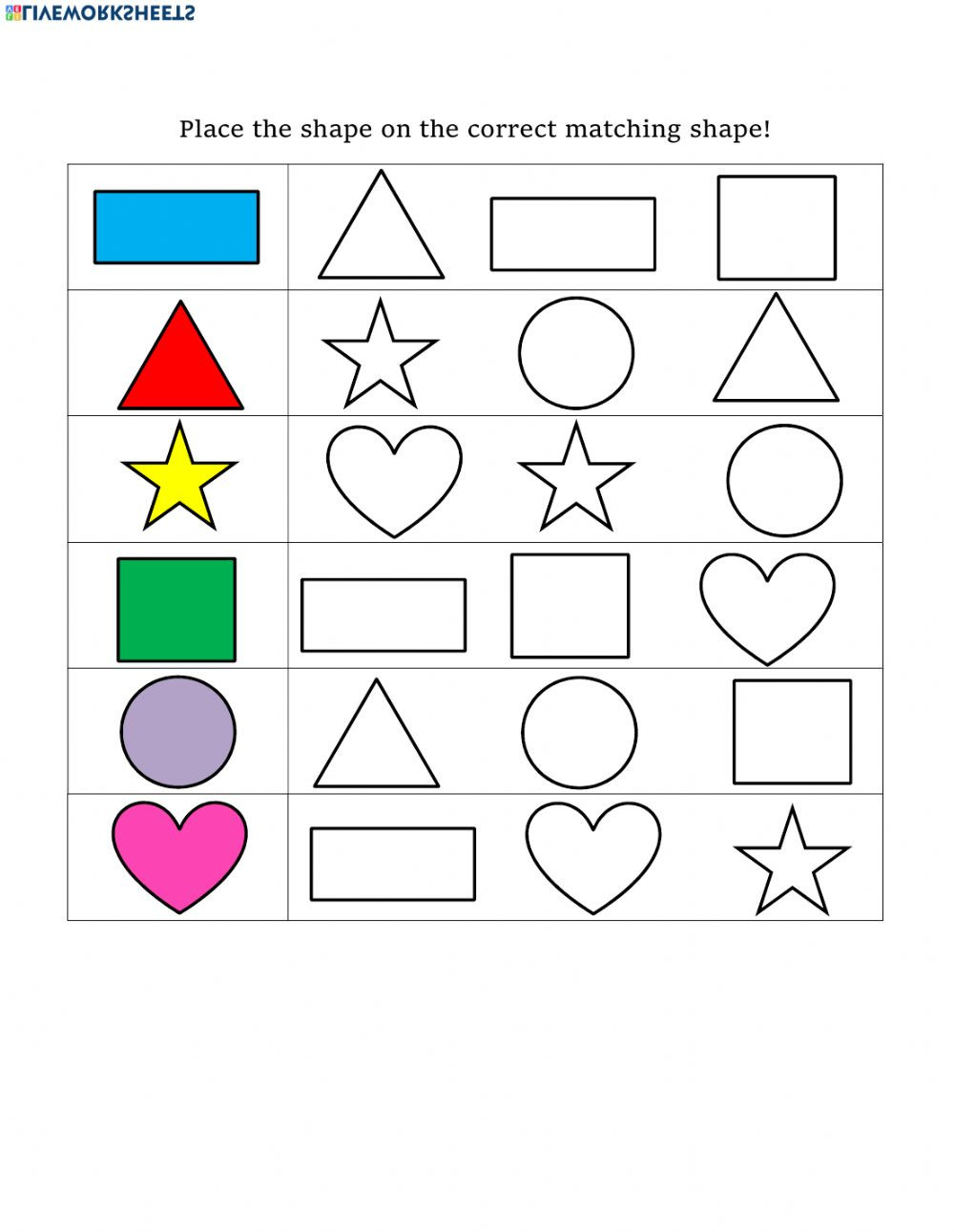 Polygon Worksheets 5th Grade Shape Matching Interactive Worksheet Shapes Worksheets Math