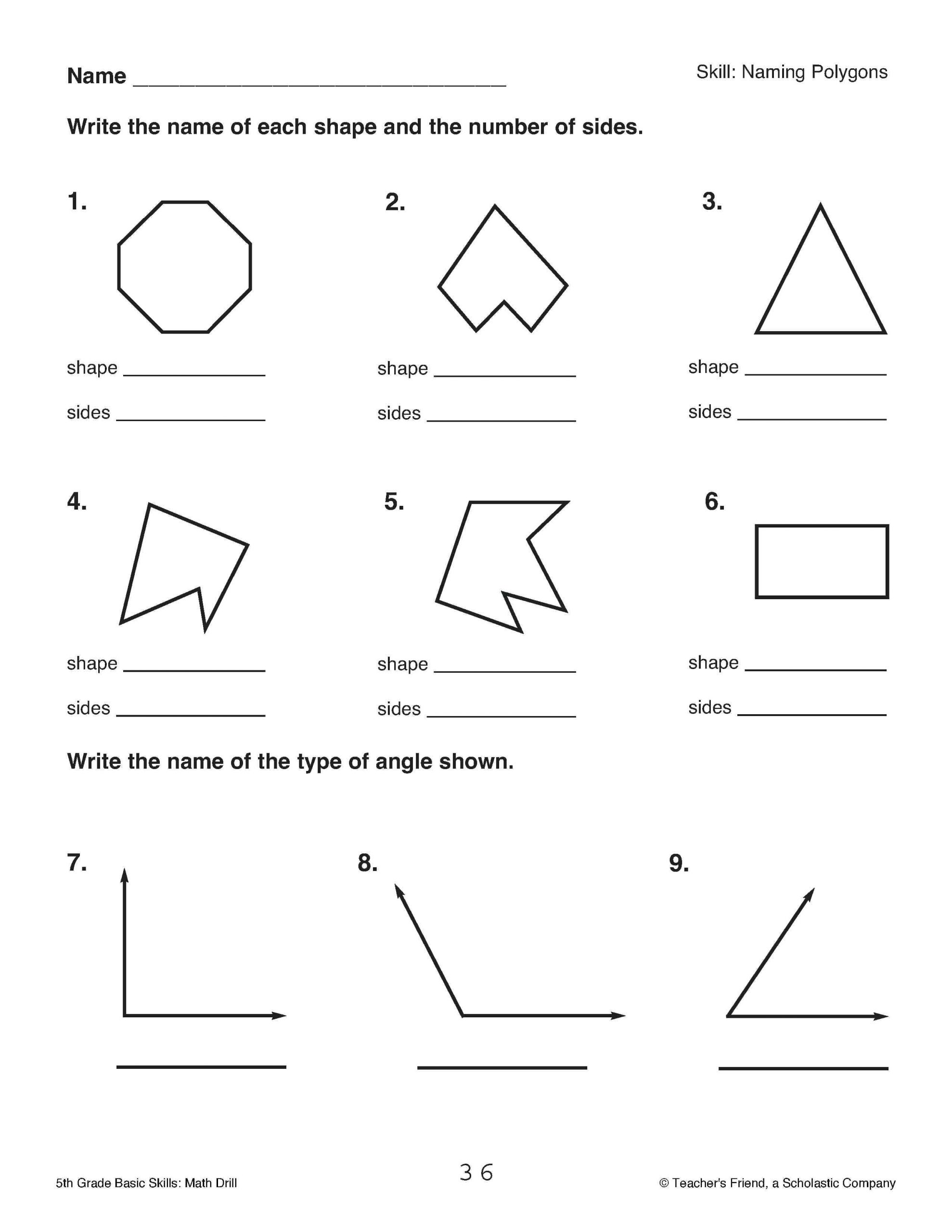 Polygons Worksheets 5th Grade Pi Worksheets for 5th Grade