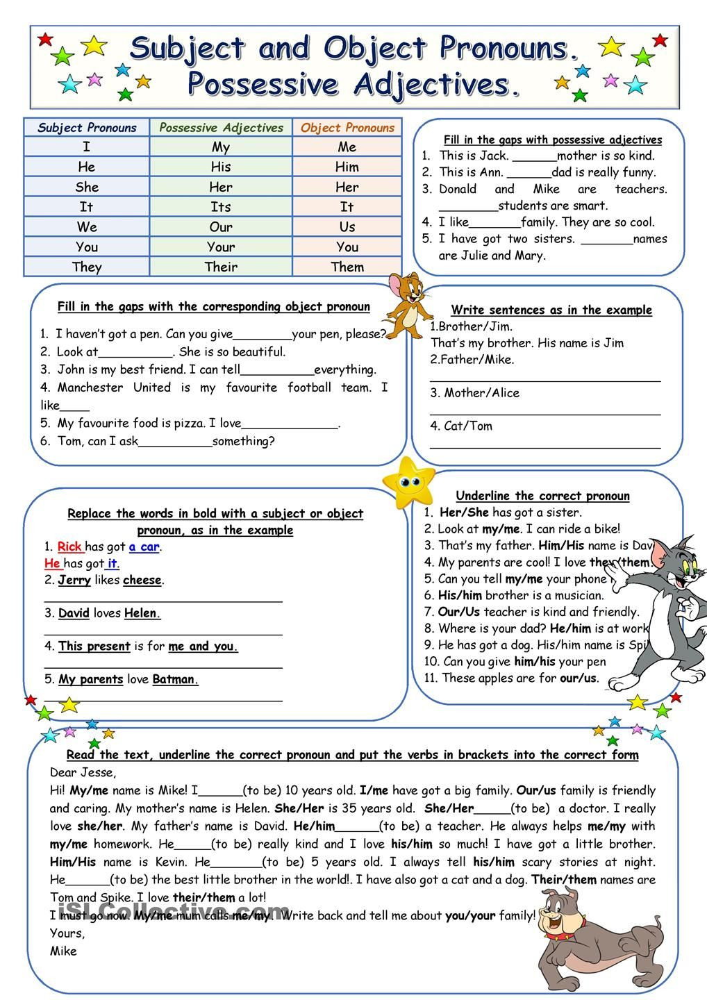 Possessive Pronoun Worksheet 3rd Grade Subject and Object Pronouns Possessive Adjectives