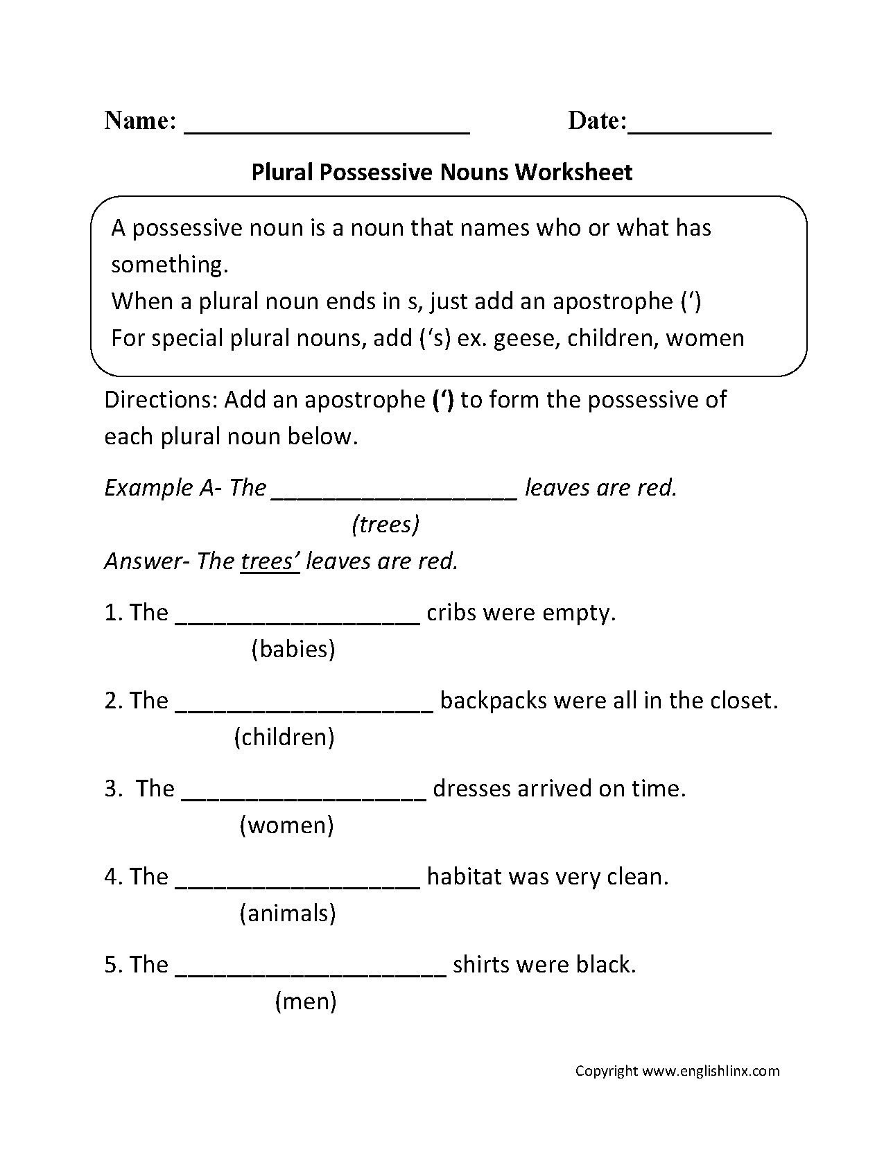 Possessive Pronoun Worksheets 5th Grade Possessive Pronouns Worksheet for Kindergarten