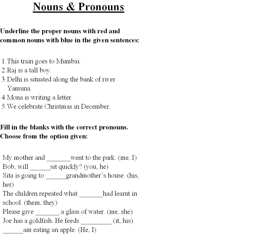 Possessive Pronouns Worksheet 5th Grade Nouns and Pronouns Worksheets Nouns and Pronouns Worksheet