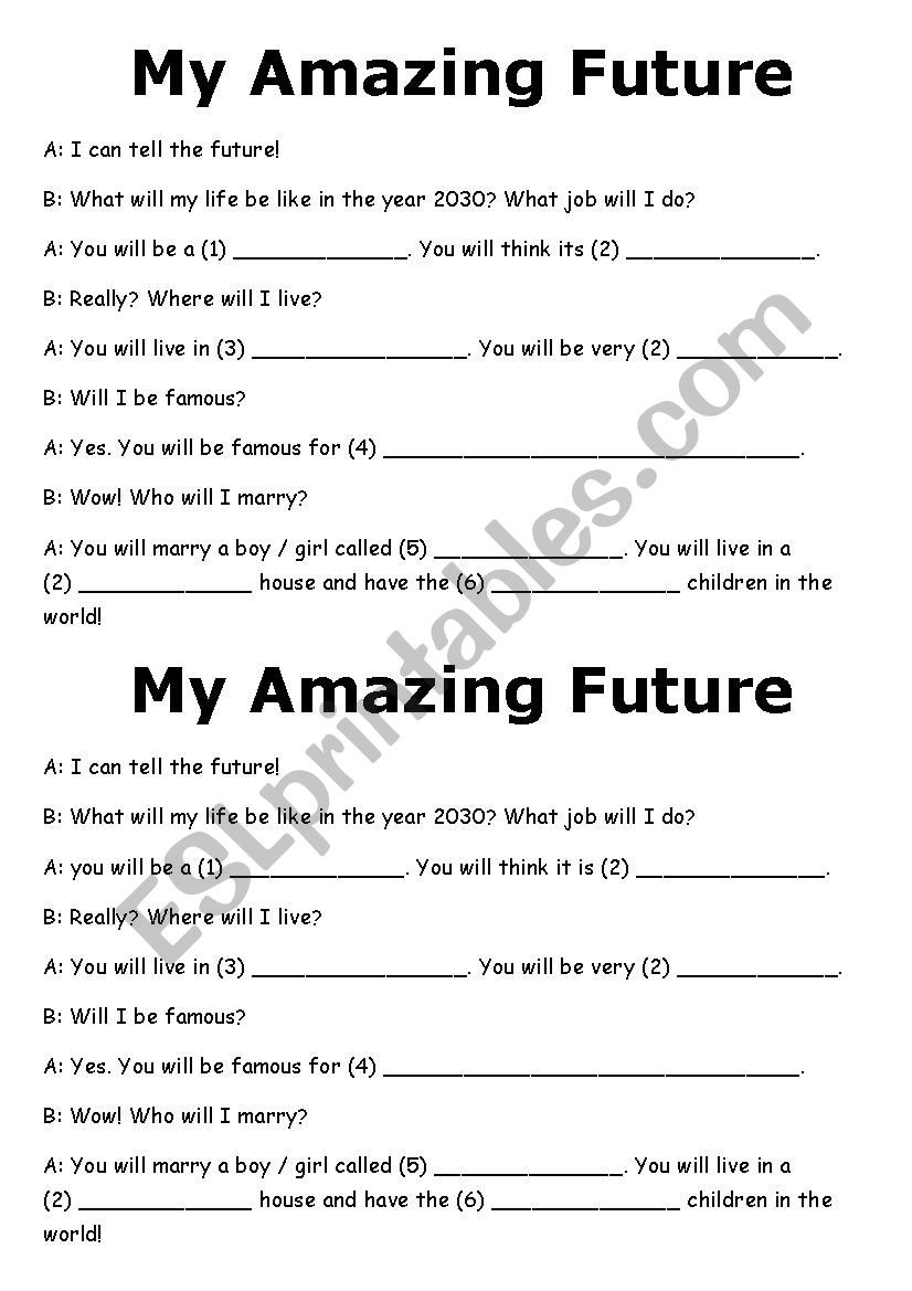 Prediction Worksheets 3rd Grade Future Predictions Madlib Esl Worksheet by Lucyj16 Free Mad