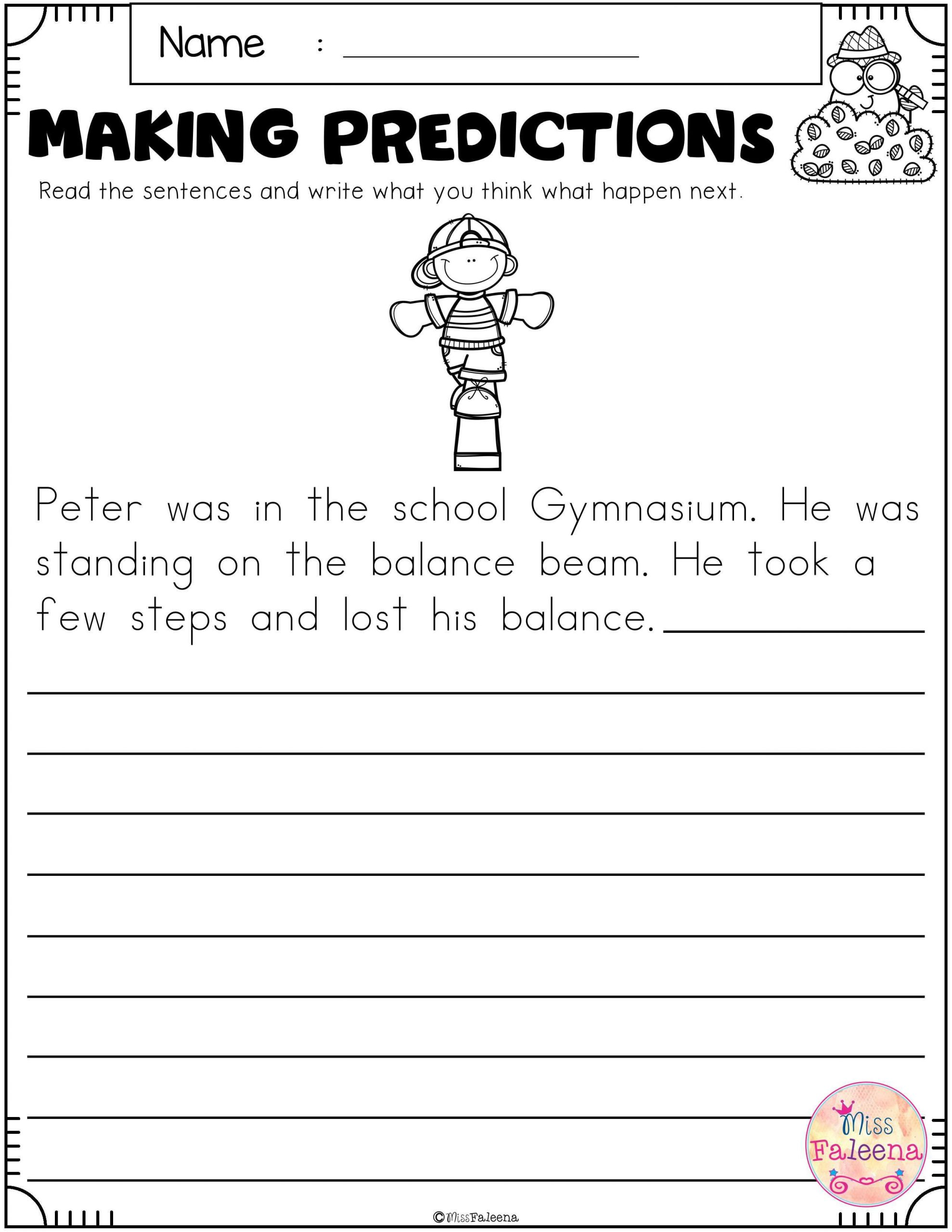 Predictions Worksheets 1st Grade Free Making Predictions