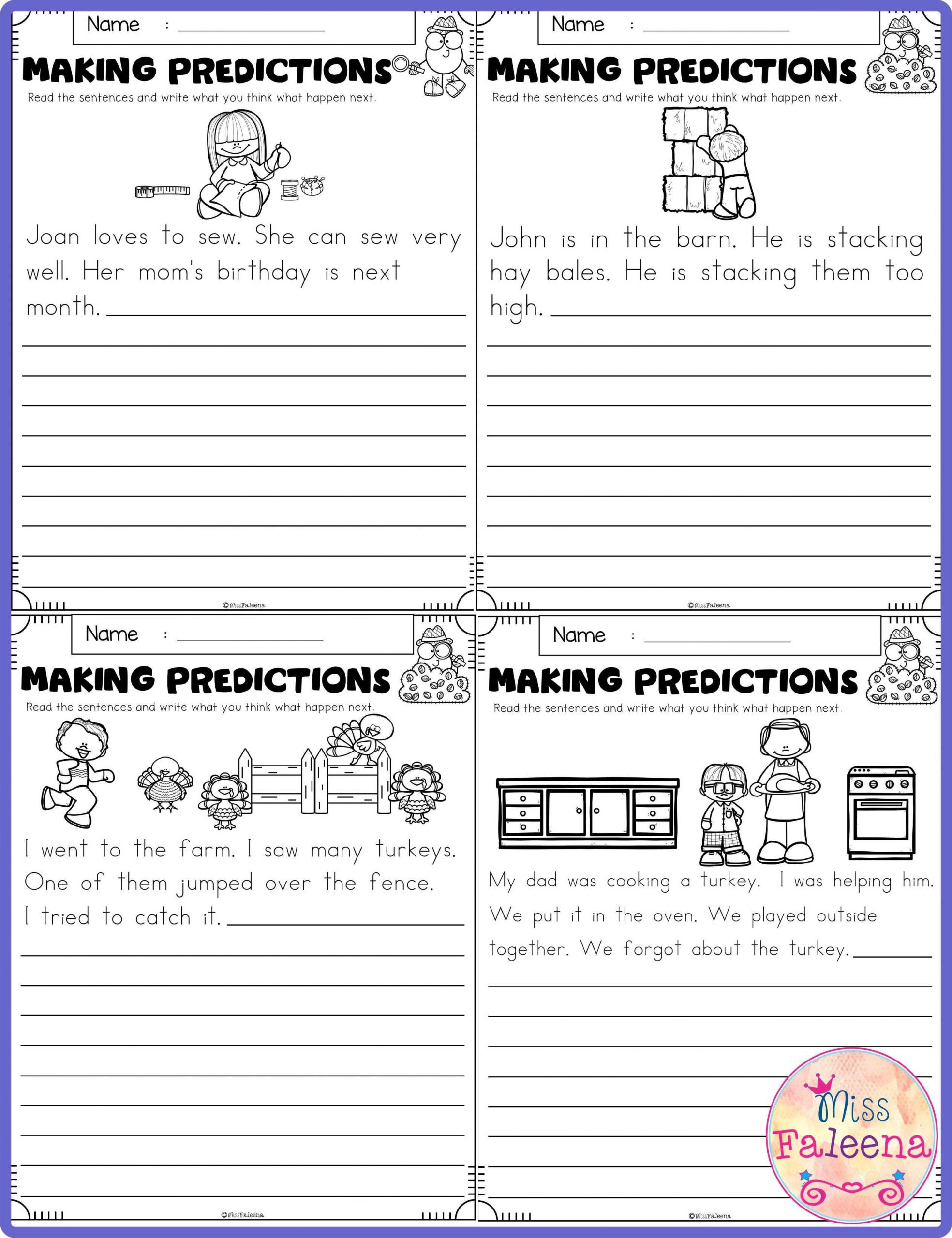 "Predictions Worksheets 1st Grade November Making Predictions(ç"" 像ã'ã'Šï¼‰"