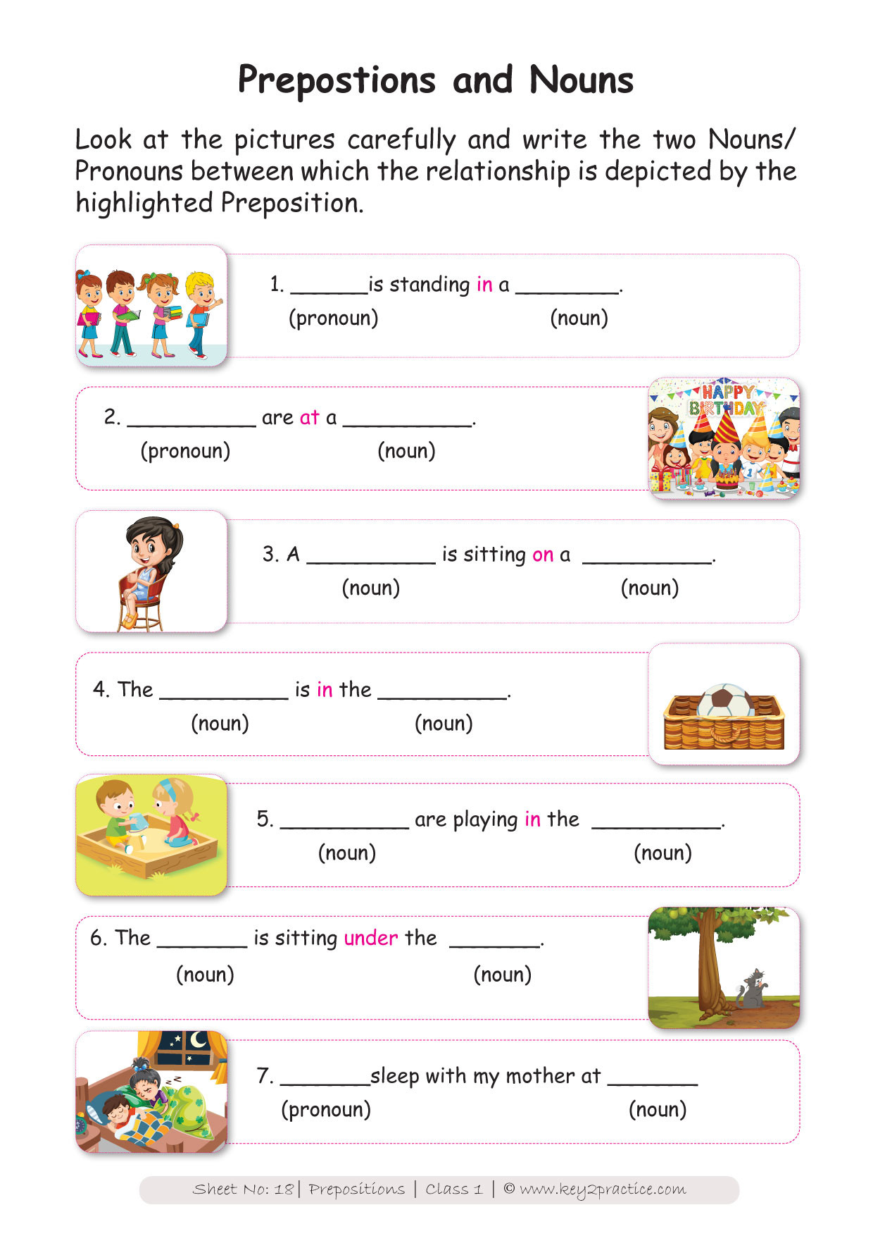 Preposition Worksheets for Grade 1 English Worksheets Grade 1 I Prepositions Key2practice Workbooks