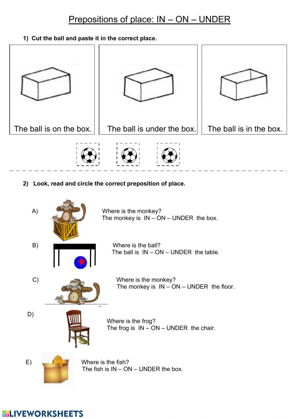 Preposition Worksheets for Grade 1 In On Under Interactive Worksheet