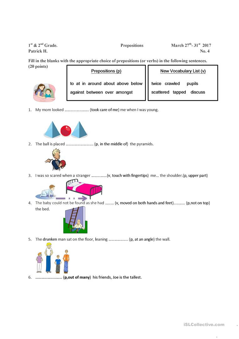 Preposition Worksheets for Grade 1 Preposition and Vocabulary Worksheet English Esl