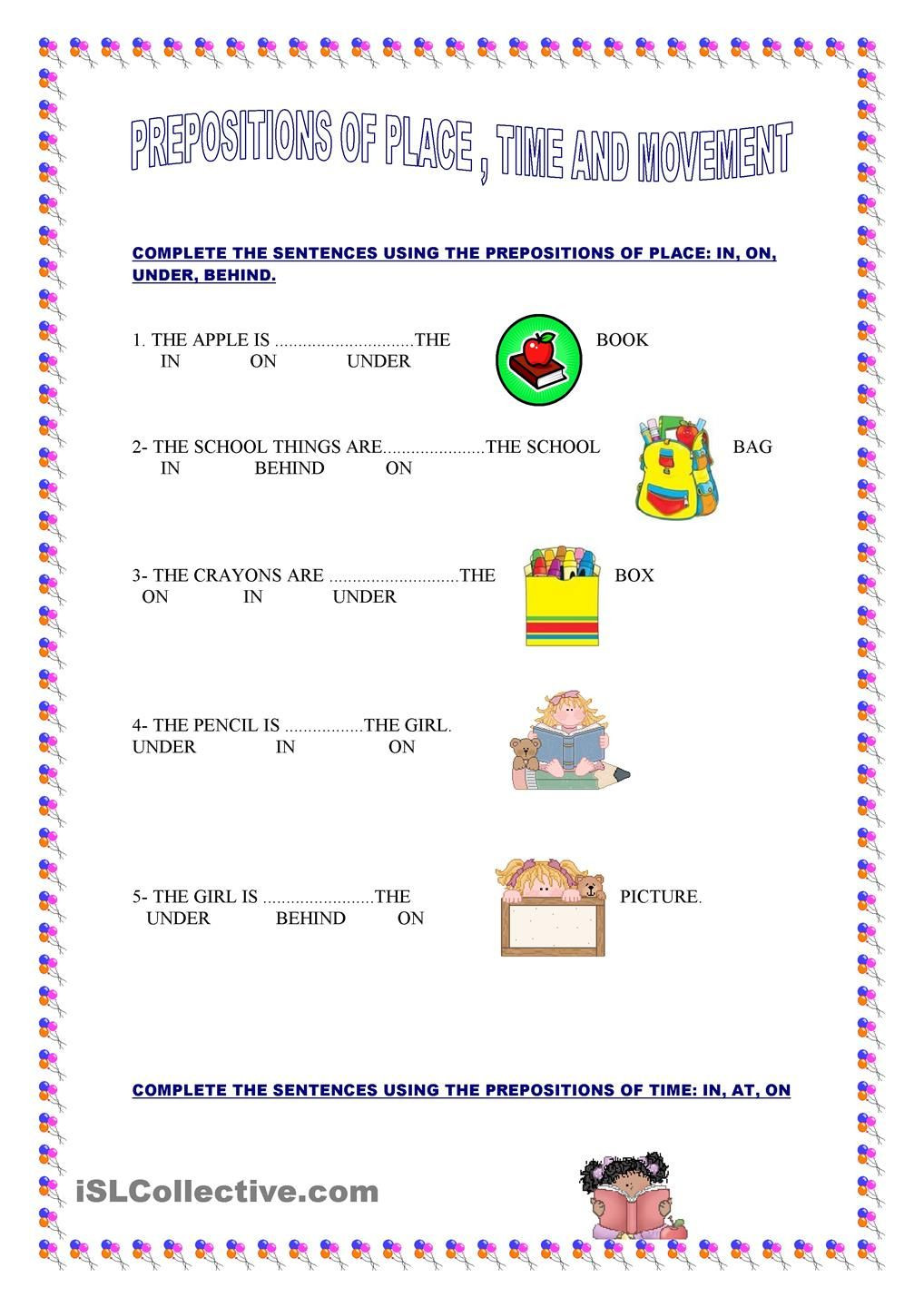 Preposition Worksheets for Grade 1 Prepositions Of Place Time and Movement